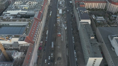 Streets of Berlin with low traffic, aerial