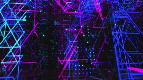 Structures with neon lights, 3D abstract animation