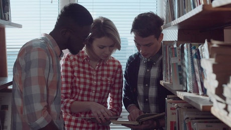 Students are discussing books in the library