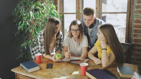 Students doing homework together at home