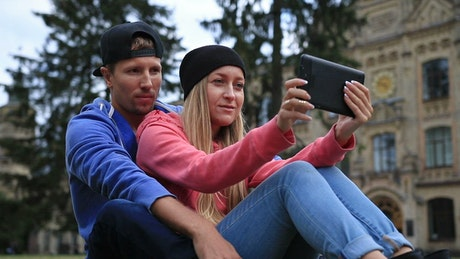 Students talking on a video call