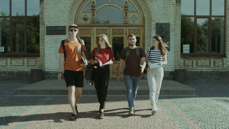 Students walking on a university campus