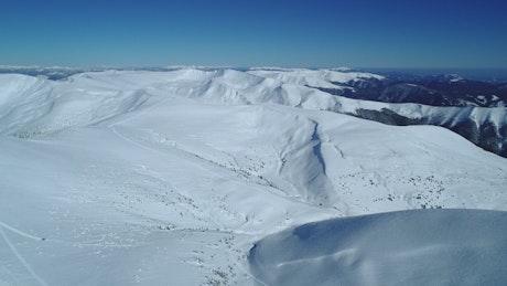 Stunning snowdrifts in a mountain range