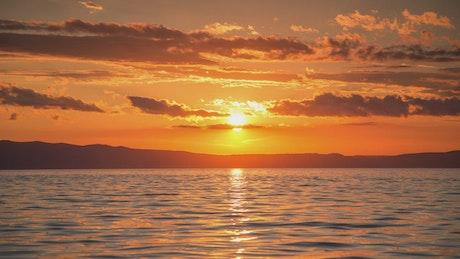Stunning sunset seen from the sea