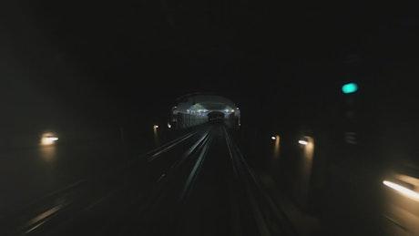 Subway train heading into the light