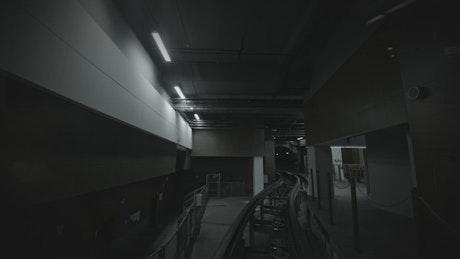 Subway train leaving a bright station