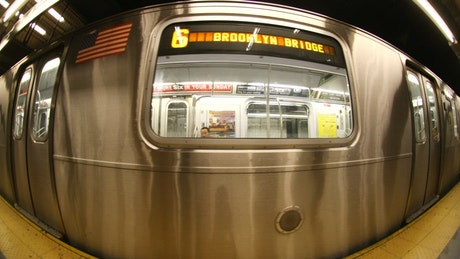 Subway train leaving the station
