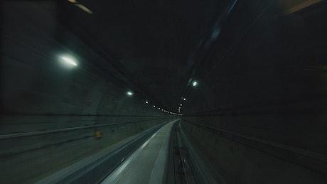Subway train lights and rails