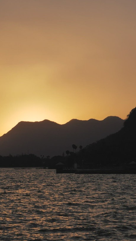 Sun over hills