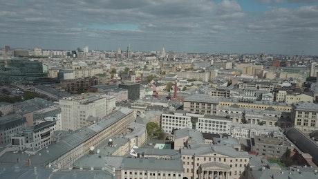 Sun over the city in Russia