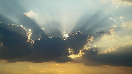 Sunbeams in a cloudy sunset