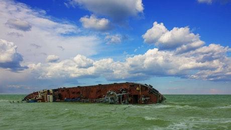 Sunken ship on the seashore