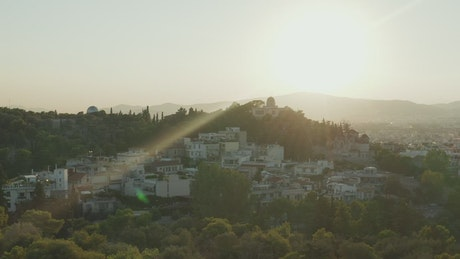 Sunlight dazzling aerial shot of Athens