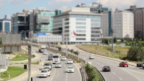 Sunny city road, tilt shift shot
