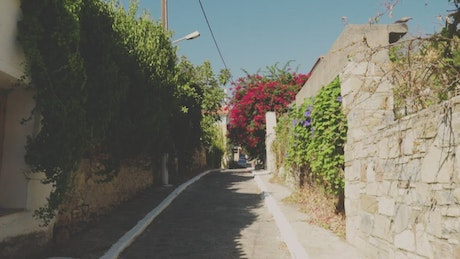 Sunny streets of a small tourist town