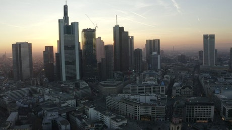 Sunrise behind the skyscrapers of Frankfurt