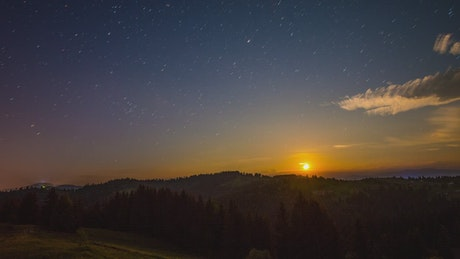 Sunrise in nature, time-lapse