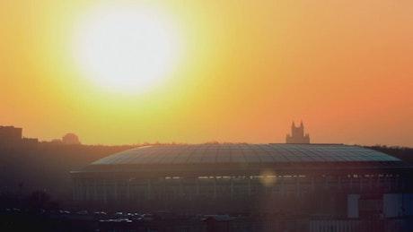 Sunset above a stadium