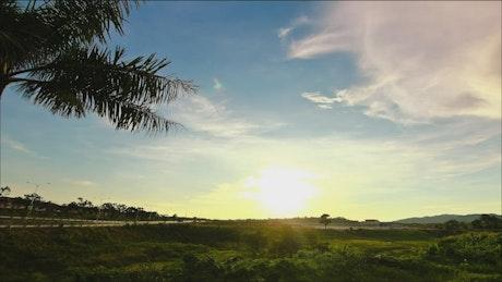 Sunset across vibrant farmland