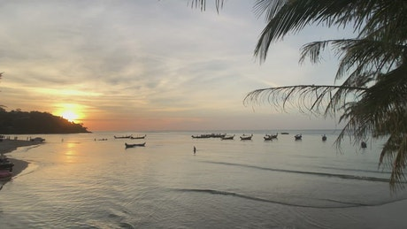 Sunset in a calm beach