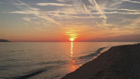 Sunset on a deserted beach