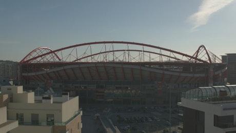 Sunset over a stadium