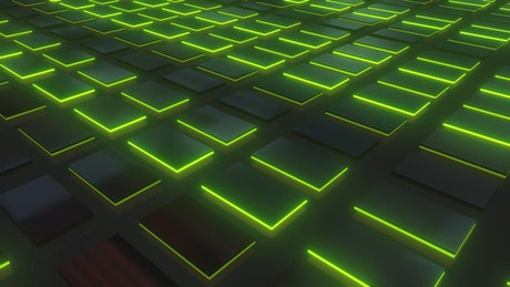 Surface illuminated boxes with green edges 3D
