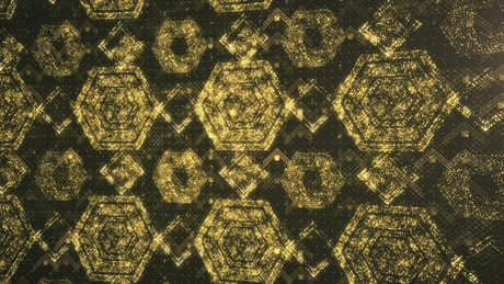 Surface with golden shiny ancient geometric figures