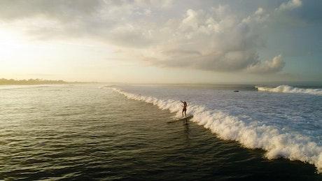 Surfer riding sunlit wave in slow motion