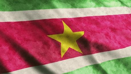 Suriname flag while waving, full screen