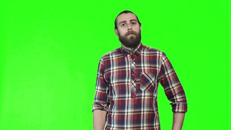 Surprised man and a green screen