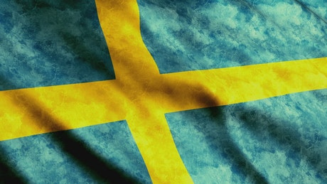 Sweden flag waving slowly