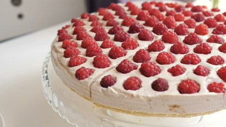 Sweet cake seen up close