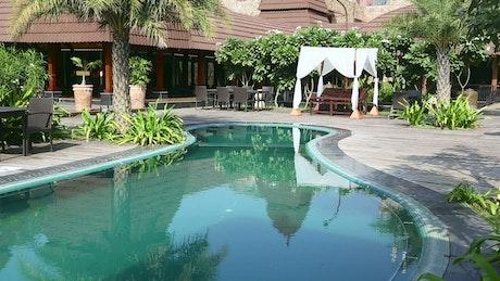 Swiming pool in resort garden