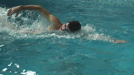 Swimmer practicing in the pool