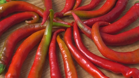 Swirling table of peppers