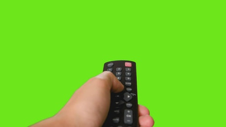 Switching to the channel with a first person control on a chroma background