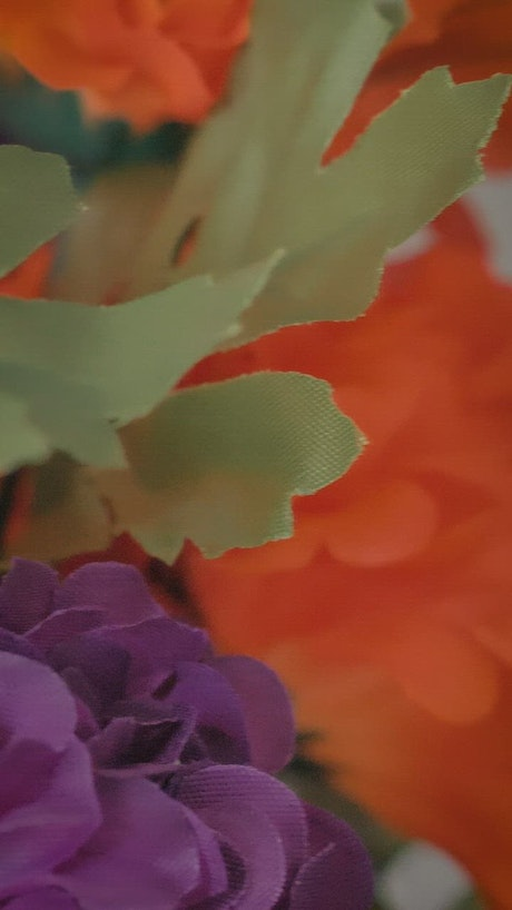 Synthetic fabric flowers, close view