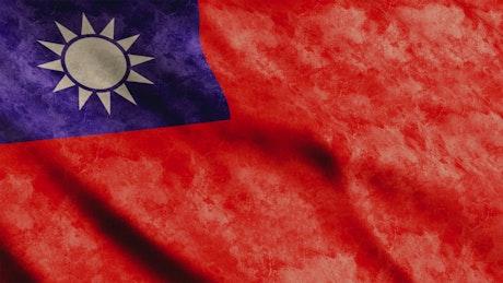 Taiwan Flag, faded texture