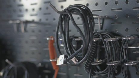 Taking a wire from a tool wall