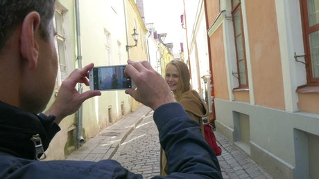 Taking photos during a city trip