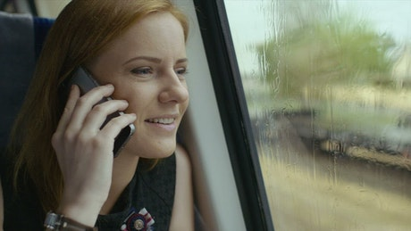 Talking on the phone while traveling