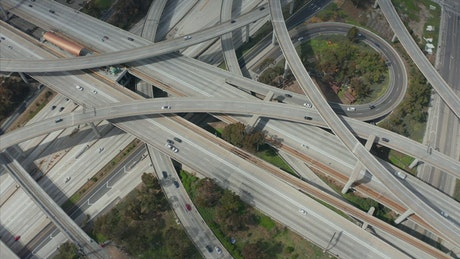 Tangled highways and roads from the air