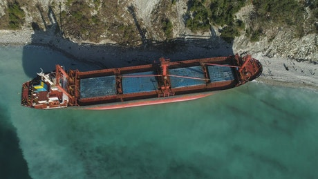 Tanker left to rust on the coast