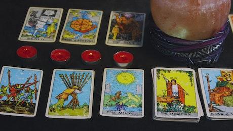 Tarot Cards across a table