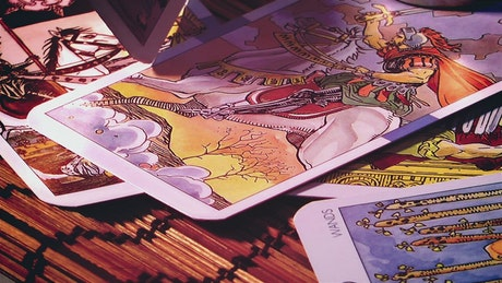 Tarot cards, close up view