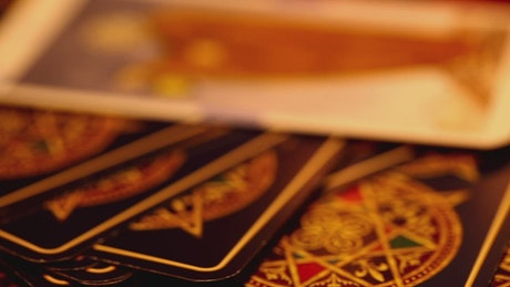 Tarot cards on the table, macro