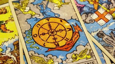 Tarot Cards spread across a table