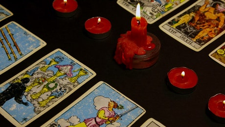 Tarot Cards with red candles