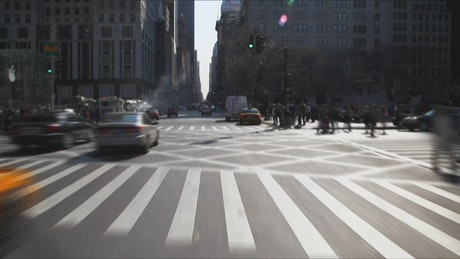 Taxi in New York traffic